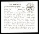 1950 Bowman REPRINT #112  Gil Hodges  Back Thumbnail