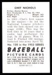 1952 Bowman REPRINT #120  Chet Nichols  Back Thumbnail