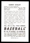 1952 Bowman REPRINT #50  Gerry Staley  Back Thumbnail