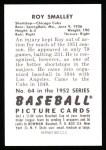 1952 Bowman REPRINT #64  Roy Smalley  Back Thumbnail
