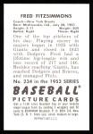 1952 Bowman REPRINT #234  Fred Fitzsimmons  Back Thumbnail