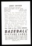 1952 Bowman REPRINT #246  Jerry Snyder  Back Thumbnail