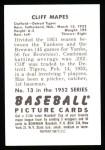 1952 Bowman REPRINT #13  Cliff Mapes  Back Thumbnail