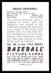 1952 Bowman REPRINT #88  Bruce Edwards  Back Thumbnail