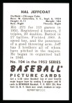 1952 Bowman REPRINT #104  Hal Jeffcoat  Back Thumbnail