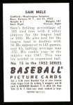 1952 Bowman REPRINT #15  Sam Mele  Back Thumbnail