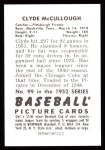 1952 Bowman REPRINT #99  Clyde McCullough  Back Thumbnail