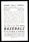 1952 Bowman REPRINT #222  Dixie Howell  Back Thumbnail