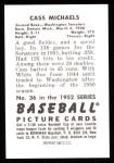 1952 Bowman REPRINT #36  Cass Michaels  Back Thumbnail