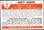 1953 Bowman REPRINT #52  Marty Marion  Back Thumbnail
