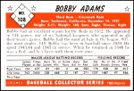 1953 Bowman REPRINT #108  Bobby Adams  Back Thumbnail