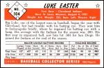 1953 Bowman REPRINT #104  Luke Easter  Back Thumbnail
