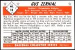 1953 Bowman REPRINT #13  Gus Zernial  Back Thumbnail