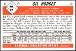 1953 Bowman REPRINT #92  Gil Hodges  Back Thumbnail