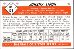 1953 Bowman REPRINT #123  John Lipon  Back Thumbnail