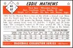 1953 Bowman REPRINT #97  Eddie Mathews  Back Thumbnail