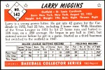 1953 Bowman REPRINT #142  Larry Miggins  Back Thumbnail