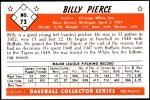 1953 Bowman REPRINT #73  Bill Pierce  Back Thumbnail
