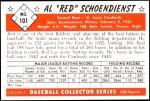 1953 Bowman REPRINT #101  Red Schoendienst  Back Thumbnail