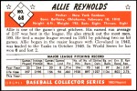 1953 Bowman REPRINT #68  Allie Reynolds  Back Thumbnail