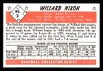 1953 Bowman B&W Reprint #2  Willard Nixon  Back Thumbnail