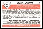 1953 Bowman B&W Reprint #46  Bucky Harris  Back Thumbnail