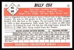 1953 Bowman B&W Reprint #60  Billy Cox  Back Thumbnail