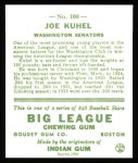 1933 Goudey Reprint #108  Joe Kuhel  Back Thumbnail