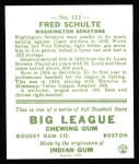 1933 Goudey Reprint #112  Fred Schulte  Back Thumbnail