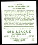 1933 Goudey Reprint #131  Fred Frankhouse  Back Thumbnail