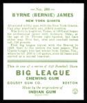 1933 Goudey Reprint #208  Bernie James  Back Thumbnail