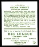 1933 Goudey Reprint #143  Glenn Wright  Back Thumbnail