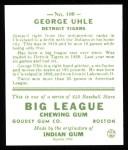 1933 Goudey Reprint #100  George Uhle  Back Thumbnail