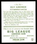 1933 Goudey Reprint #54  Ray Kremer  Back Thumbnail