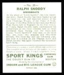 1933 Sport Kings Reprint #25  Ralph Snoddy   Back Thumbnail
