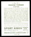 1933 Sport Kings Reprint #27  Roscoe Turner   Back Thumbnail