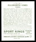 1933 Sport Kings Reprint #46  Ellsworth Vines   Back Thumbnail