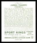 1933 Sport Kings Reprint #6  Jim Thorpe   Back Thumbnail