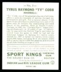 1933 Sport Kings Reprint #1  Ty Cobb   Back Thumbnail
