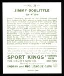 1933 Sport Kings Reprint #28  James Doolittle   Back Thumbnail