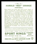 1933 Sport Kings Reprint #4  Red Grange   Back Thumbnail