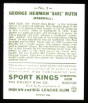 1933 Sport Kings Reprint #2  Babe Ruth   Back Thumbnail