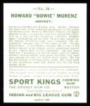 1933 Sport Kings Reprint #24  Howie Morenz   Back Thumbnail