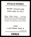 1936 Goudey Reprint #1  Wally Berger  Back Thumbnail