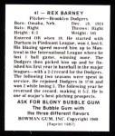 1948 Bowman REPRINT #41  Rex Barney  Back Thumbnail