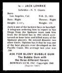 1948 Bowman REPRINT #16  Jack Lohrke  Back Thumbnail