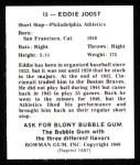1948 Bowman REPRINT #15  Eddie Joost  Back Thumbnail