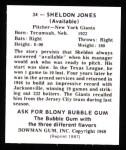 1948 Bowman REPRINT #34  Sheldon Jones  Back Thumbnail