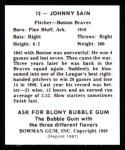 1948 Bowman REPRINT #12  Johnny Sain  Back Thumbnail