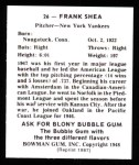 1948 Bowman REPRINT #26  Frank Shea  Back Thumbnail